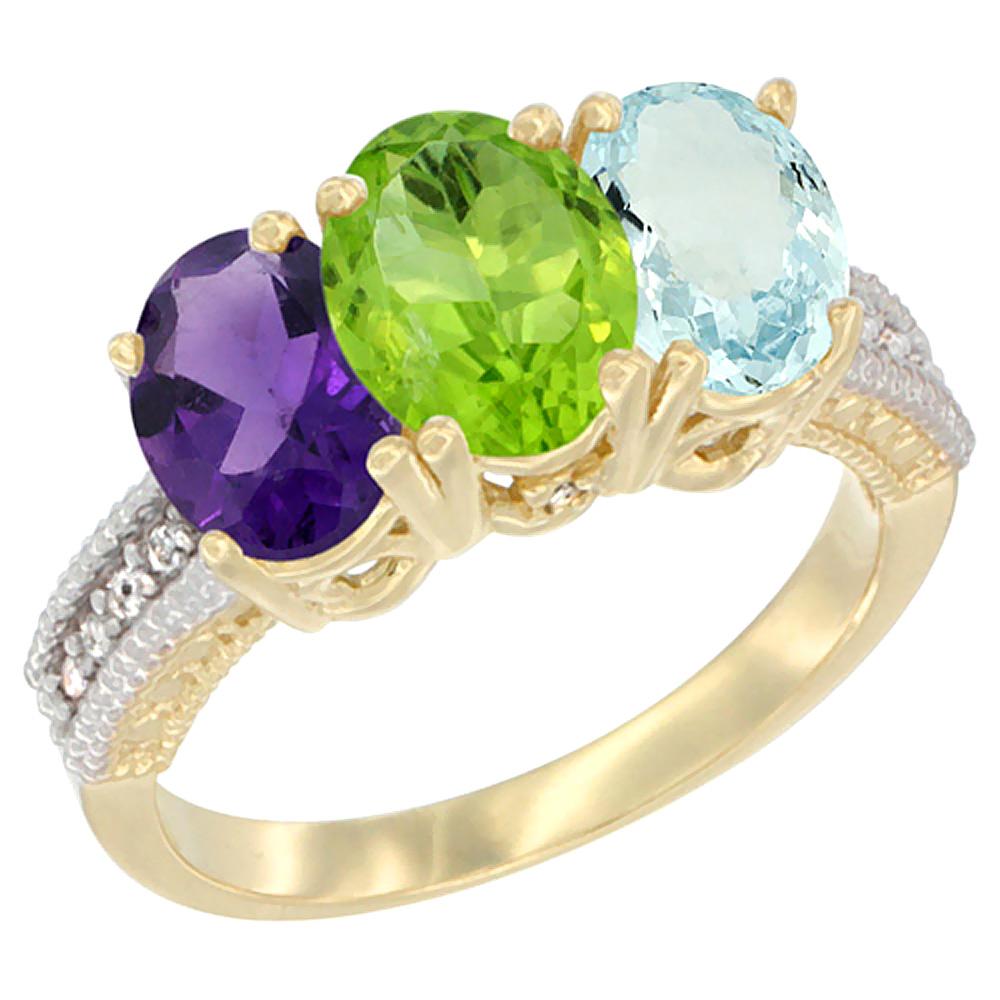 10K Yellow Gold Diamond Natural Amethyst, Peridot & Aquamarine Ring Oval 3-Stone 7x5 mm,sizes 5-10