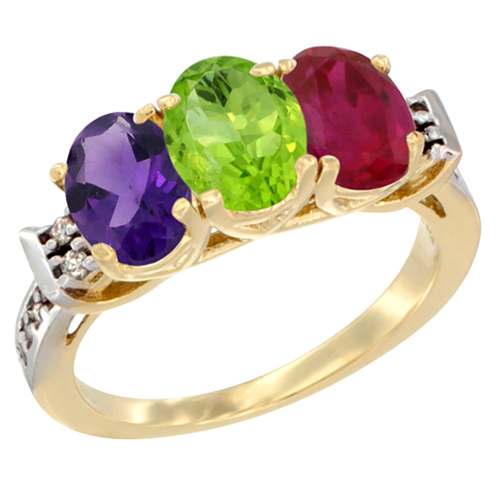 10K Yellow Gold Natural Amethyst, Peridot & Enhanced Ruby Ring 3-Stone Oval 7x5 mm Diamond Accent, sizes 5 - 10