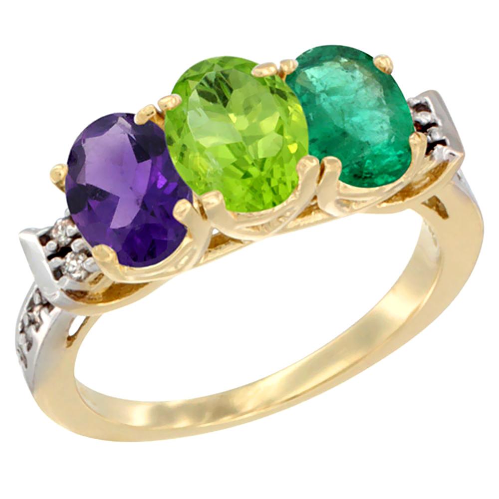 10K Yellow Gold Natural Amethyst, Peridot & Emerald Ring 3-Stone Oval 7x5 mm Diamond Accent, sizes 5 - 10