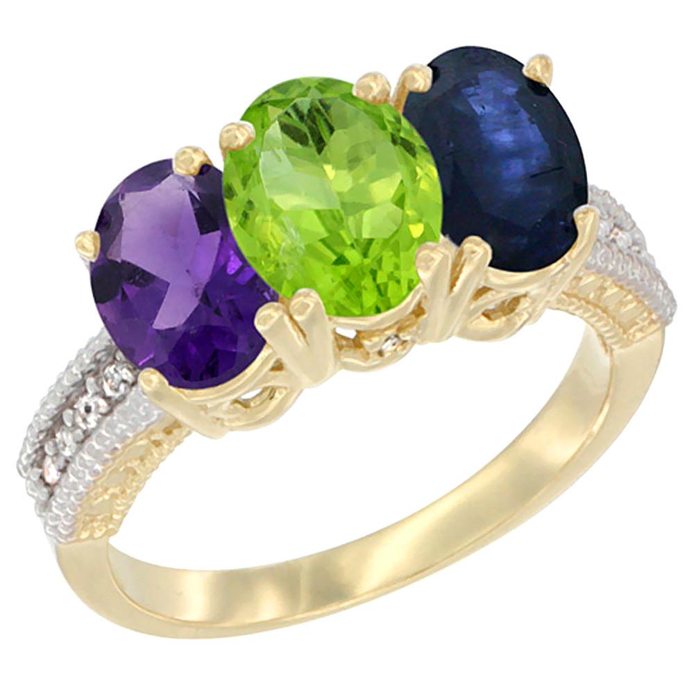 10K Yellow Gold Diamond Natural Amethyst, Peridot & Blue Sapphire Ring Oval 3-Stone 7x5 mm,sizes 5-10