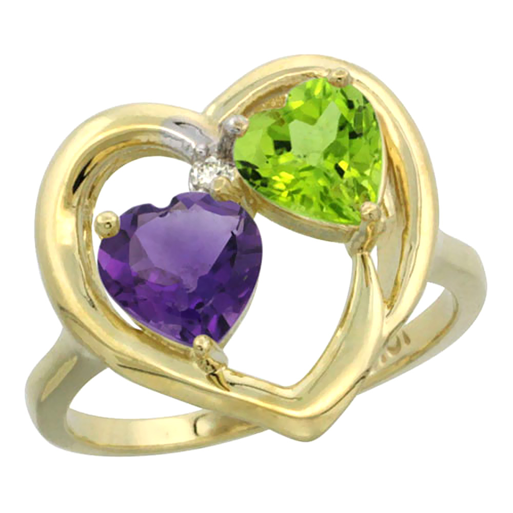 14K Yellow Gold Diamond Two-stone Heart Ring 6mm Natural Amethyst & Peridot, sizes 5-10