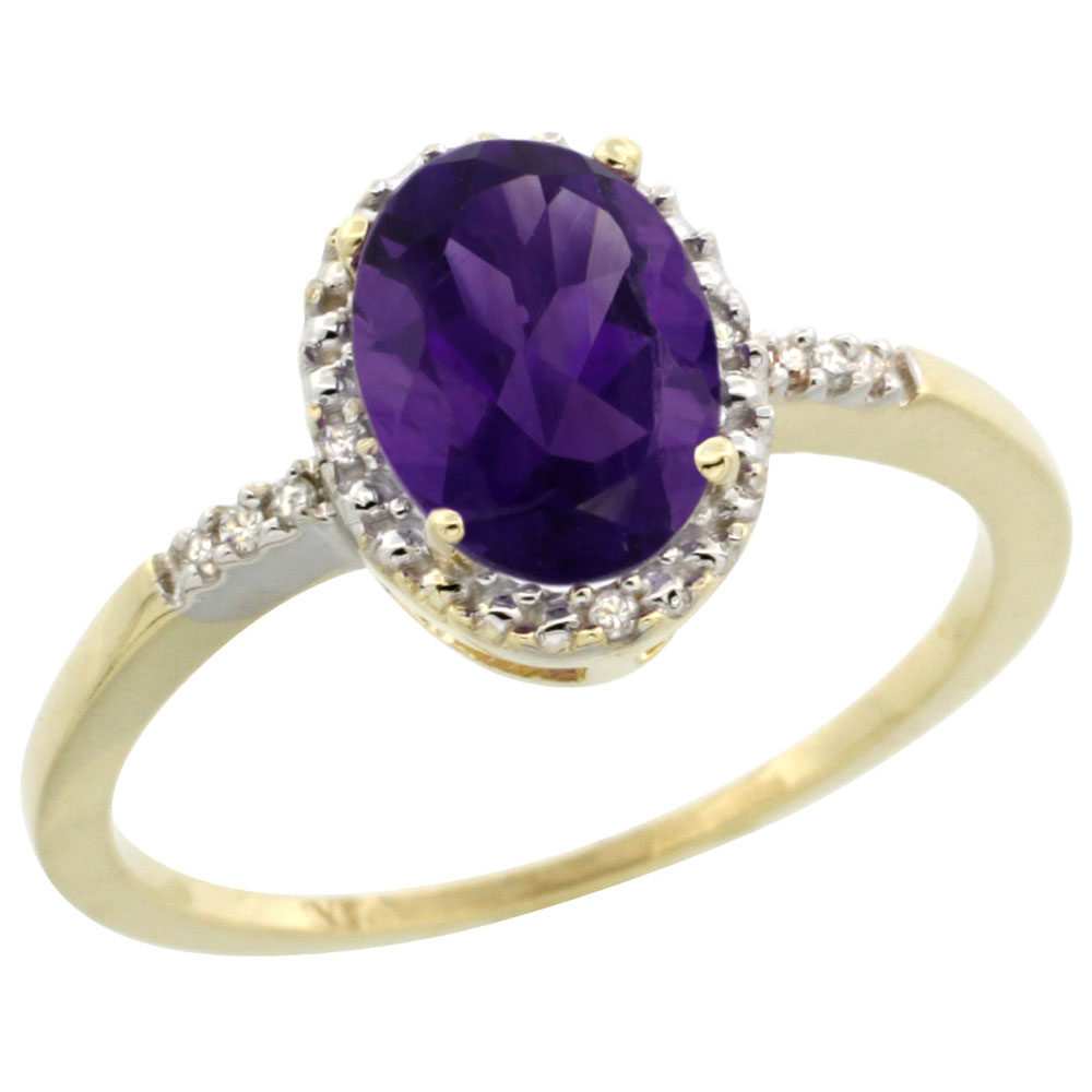 14K Yellow Gold Diamond Natural Amethyst Ring Oval 8x6mm, sizes 5-10
