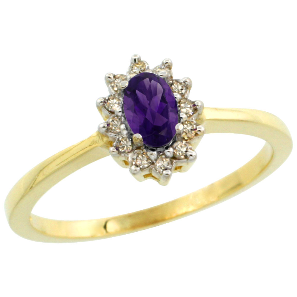 14K Yellow Gold Natural Amethyst Ring Oval 5x3mm Diamond Halo, sizes 5-10