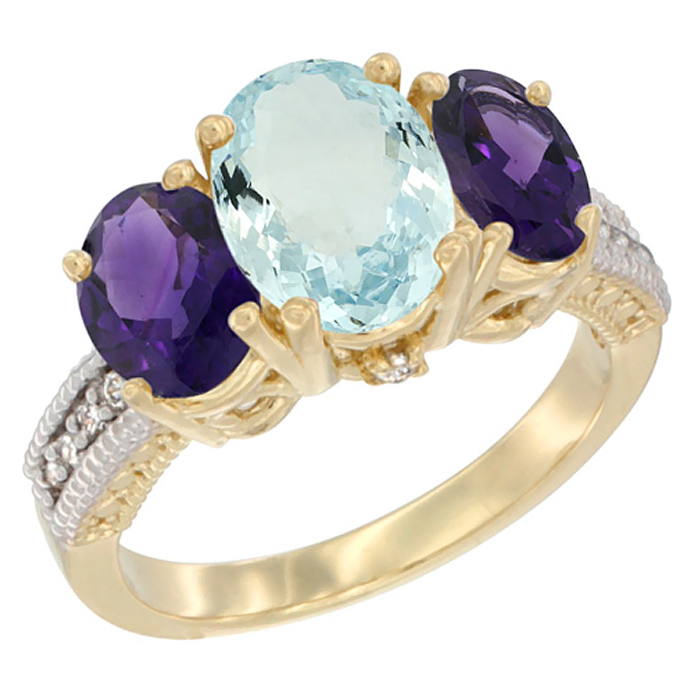 14K Yellow Gold Diamond Natural Aquamarine Ring 3-Stone Oval 8x6mm with Amethyst, sizes5-10