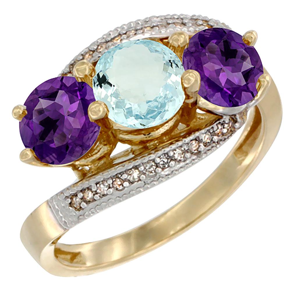 14K Yellow Gold Natural Aquamarine & Amethyst Sides 3 stone Ring Round 6mm Diamond Accent, sizes 5 - 10