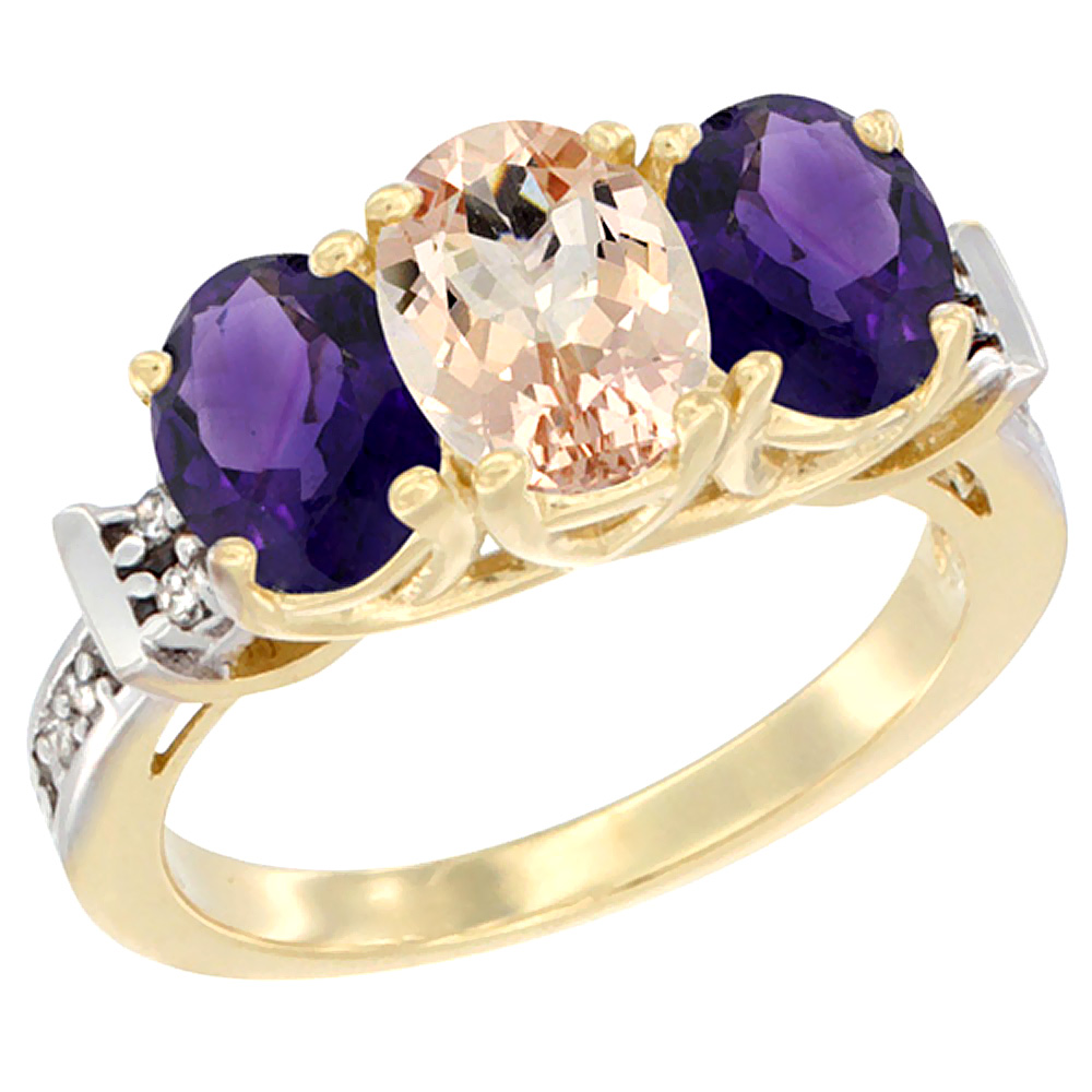 14K Yellow Gold Natural Morganite & Amethyst Sides Ring 3-Stone Oval Diamond Accent, sizes 5 - 10