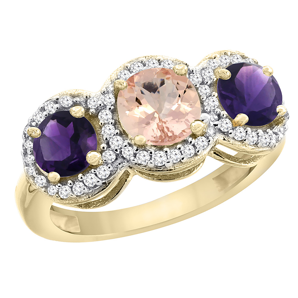 14K Yellow Gold Natural Morganite & Amethyst Sides Round 3-stone Ring Diamond Accents, sizes 5 - 10
