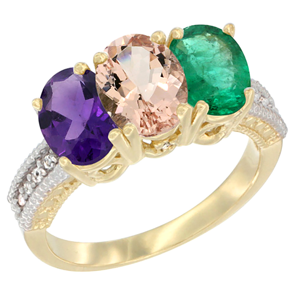 14K Yellow Gold Natural Amethyst, Morganite & Emerald Ring 3-Stone 7x5 mm Oval Diamond Accent, sizes 5 - 10