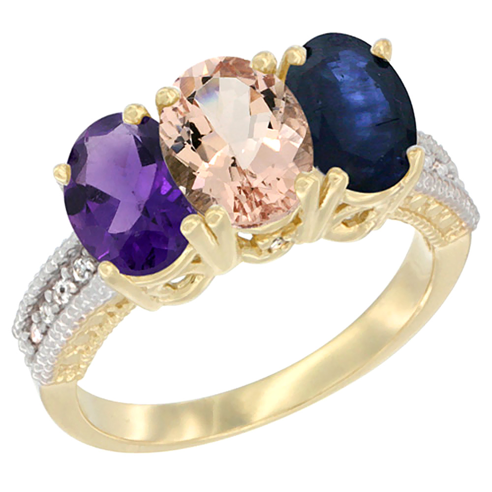 14K Yellow Gold Natural Amethyst, Morganite & Blue Sapphire Ring 3-Stone 7x5 mm Oval Diamond Accent, sizes 5 - 10