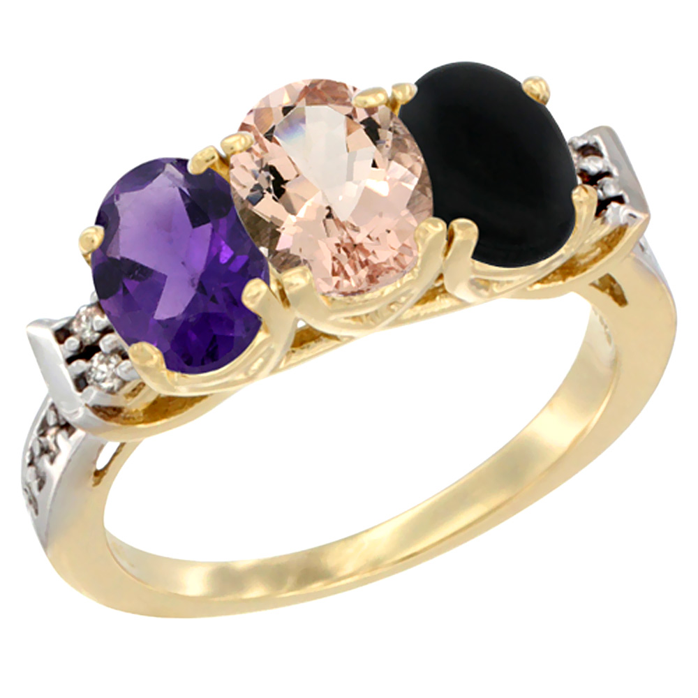 14K Yellow Gold Natural Amethyst, Morganite & Black Onyx Ring 3-Stone 7x5 mm Oval Diamond Accent, sizes 5 - 10