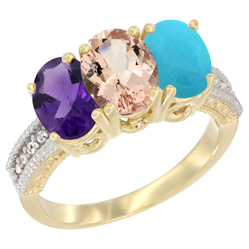 14K Yellow Gold Natural Amethyst, Morganite & Turquoise Ring 3-Stone 7x5 mm Oval Diamond Accent, sizes 5 - 10