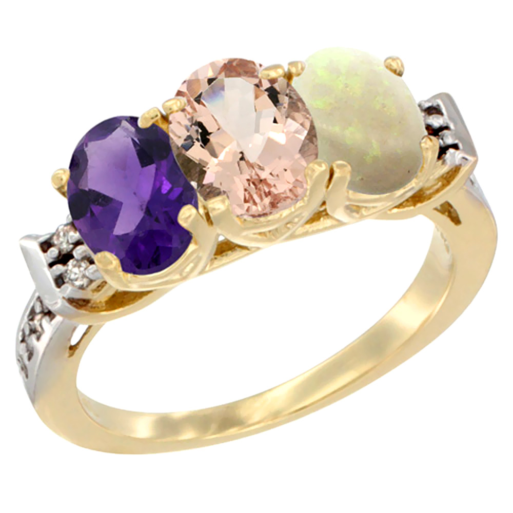 14K Yellow Gold Natural Amethyst, Morganite & Opal Ring 3-Stone 7x5 mm Oval Diamond Accent, sizes 5 - 10