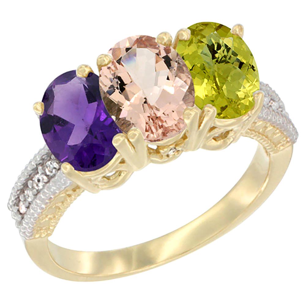 14K Yellow Gold Natural Amethyst, Morganite & Lemon Quartz Ring 3-Stone 7x5 mm Oval Diamond Accent, sizes 5 - 10