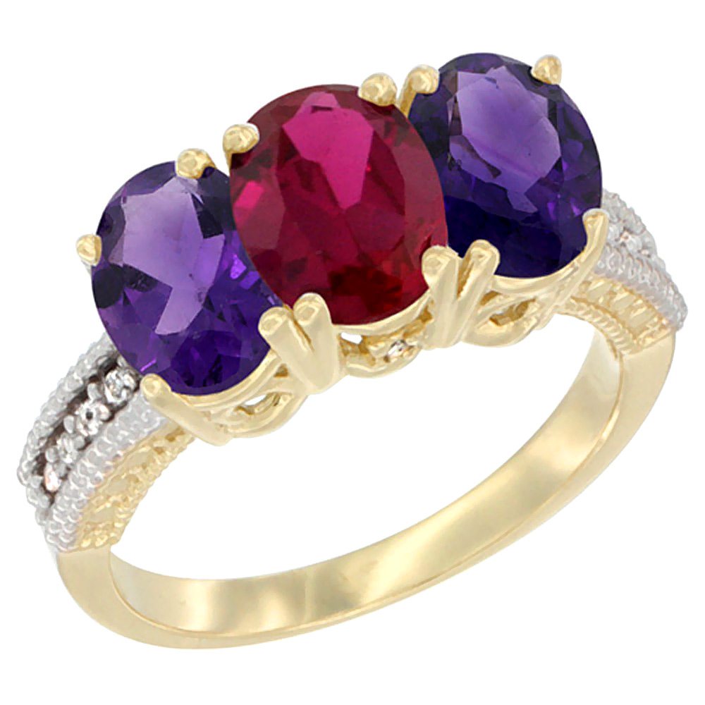 10K Yellow Gold Diamond Enhanced Ruby & Natural Amethyst Ring Oval 3-Stone 7x5 mm,sizes 5-10