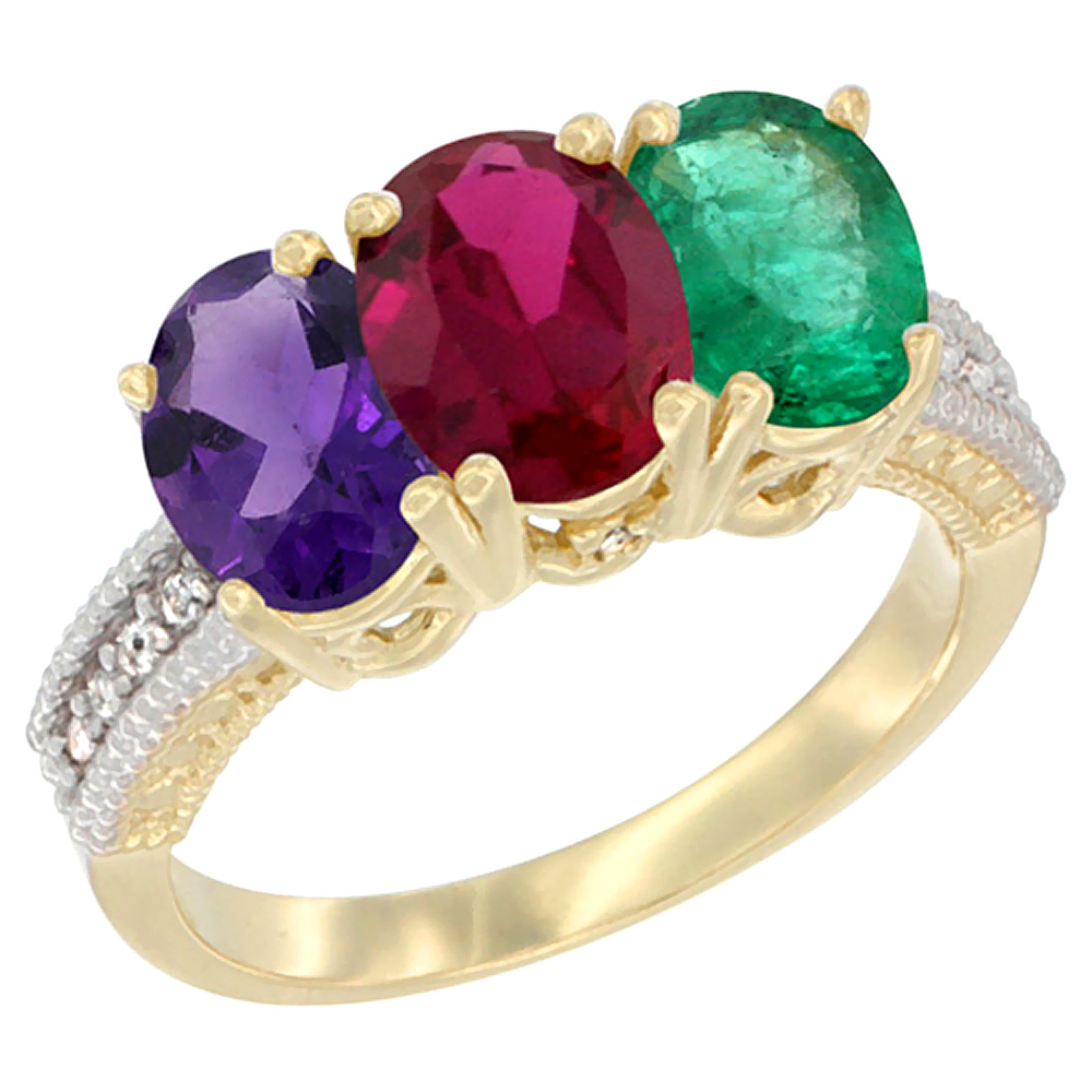 10K Yellow Gold Diamond Natural Amethyst, Enhanced Ruby & Natural Emerald Ring Oval 3-Stone 7x5 mm,sizes 5-10