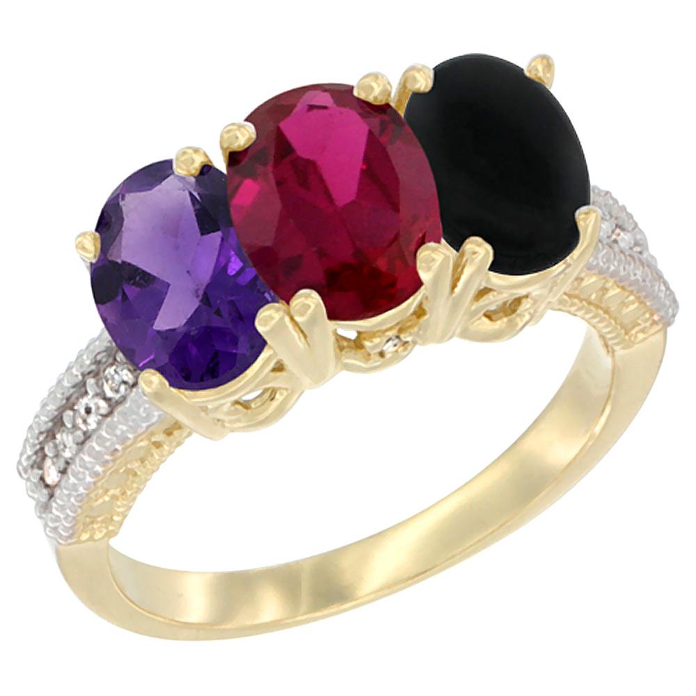 10K Yellow Gold Diamond Natural Amethyst, Enhanced Ruby & Natural Black Onyx Ring Oval 3-Stone 7x5 mm,sizes 5-10