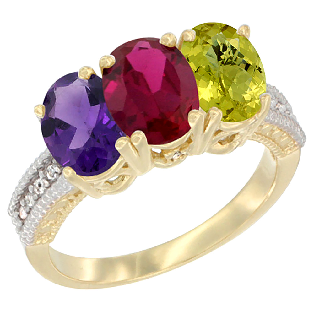 10K Yellow Gold Diamond Natural Amethyst, Enhanced Ruby & Natural Lemon Quartz Ring Oval 3-Stone 7x5 mm,sizes 5-10