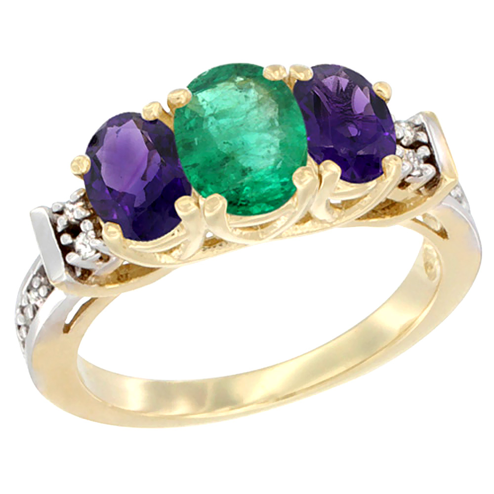 10K Yellow Gold Natural Emerald & Amethyst Ring 3-Stone Oval Diamond Accent