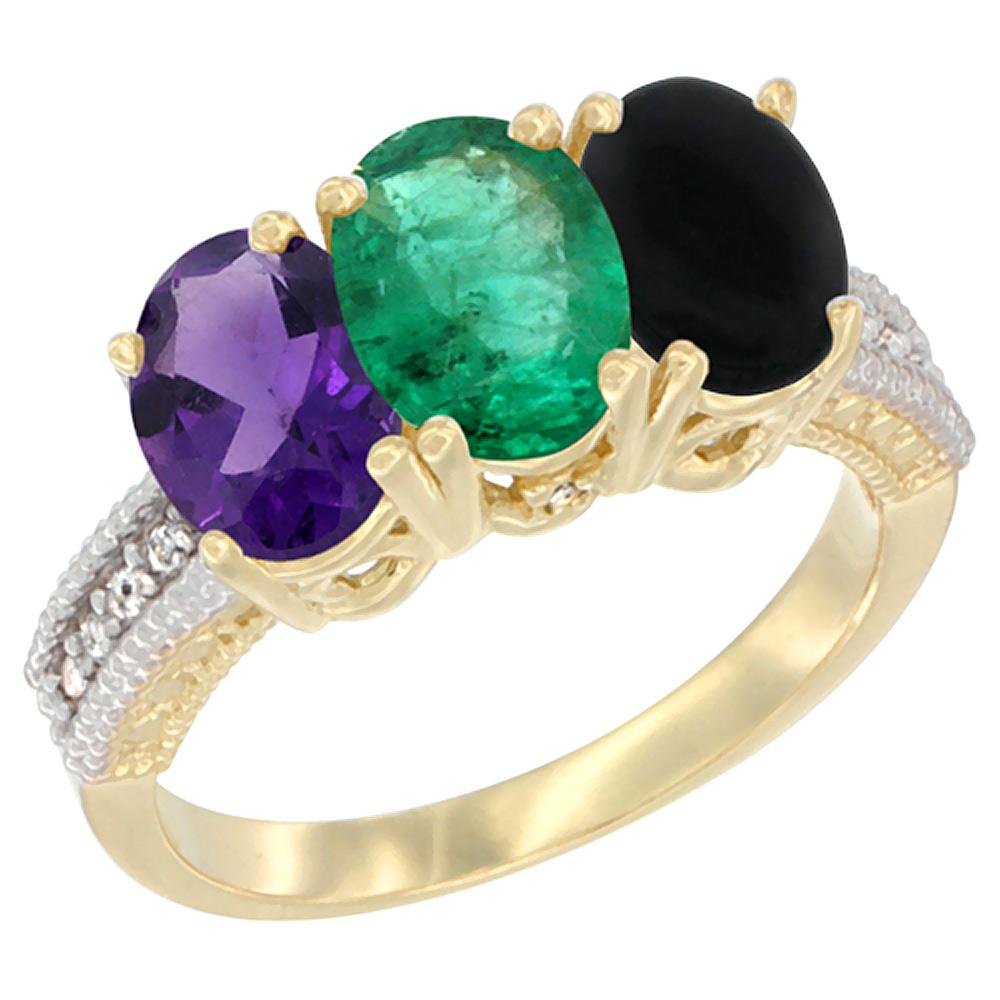 10K Yellow Gold Diamond Natural Amethyst, Emerald & Black Onyx Ring Oval 3-Stone 7x5 mm,sizes 5-10
