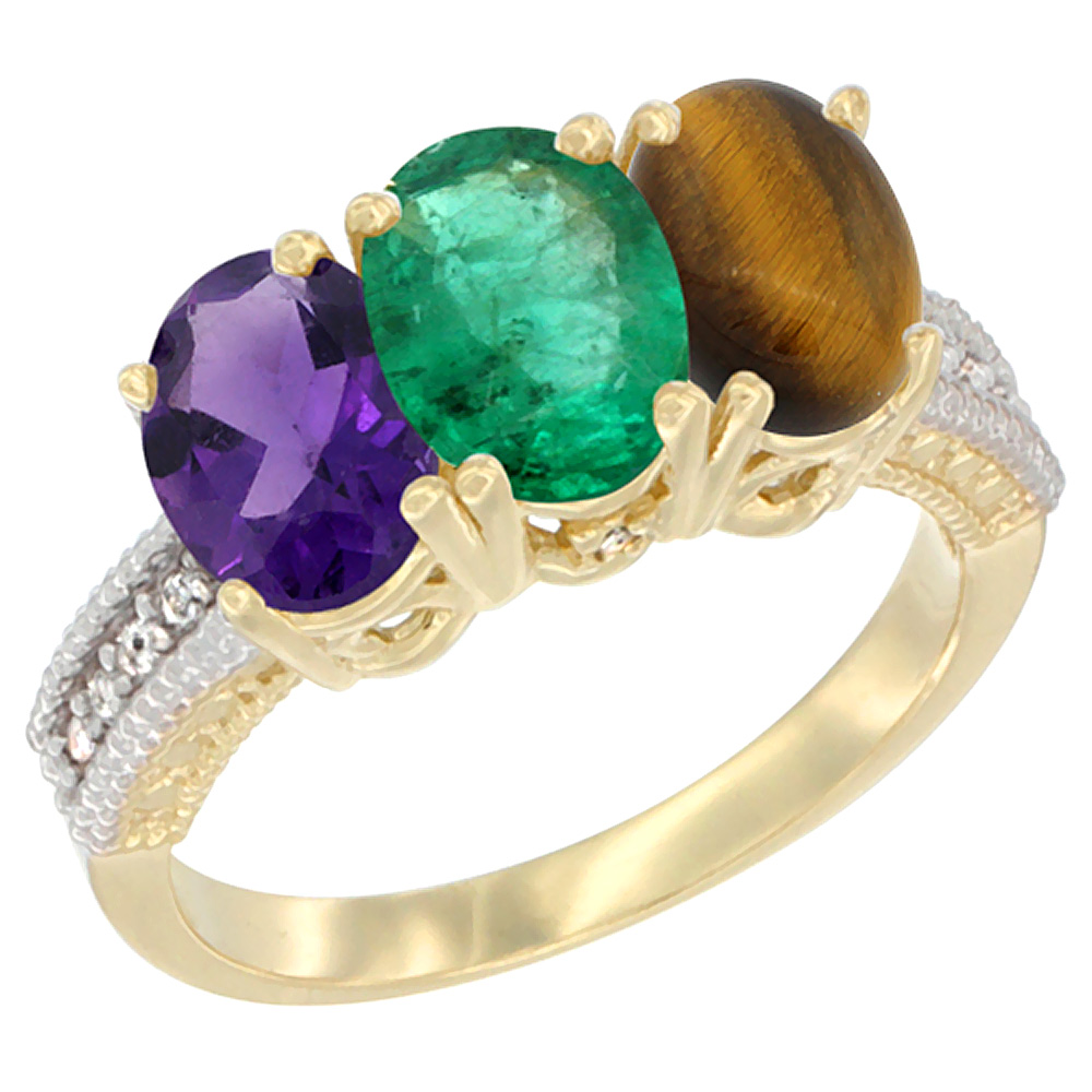 10K Yellow Gold Diamond Natural Amethyst, Emerald & Tiger Eye Ring Oval 3-Stone 7x5 mm,sizes 5-10