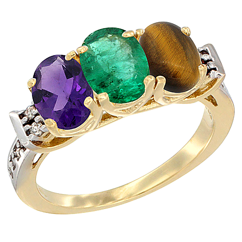 14K Yellow Gold Natural Amethyst, Emerald & Tiger Eye Ring 3-Stone 7x5 mm Oval Diamond Accent, sizes 5 - 10