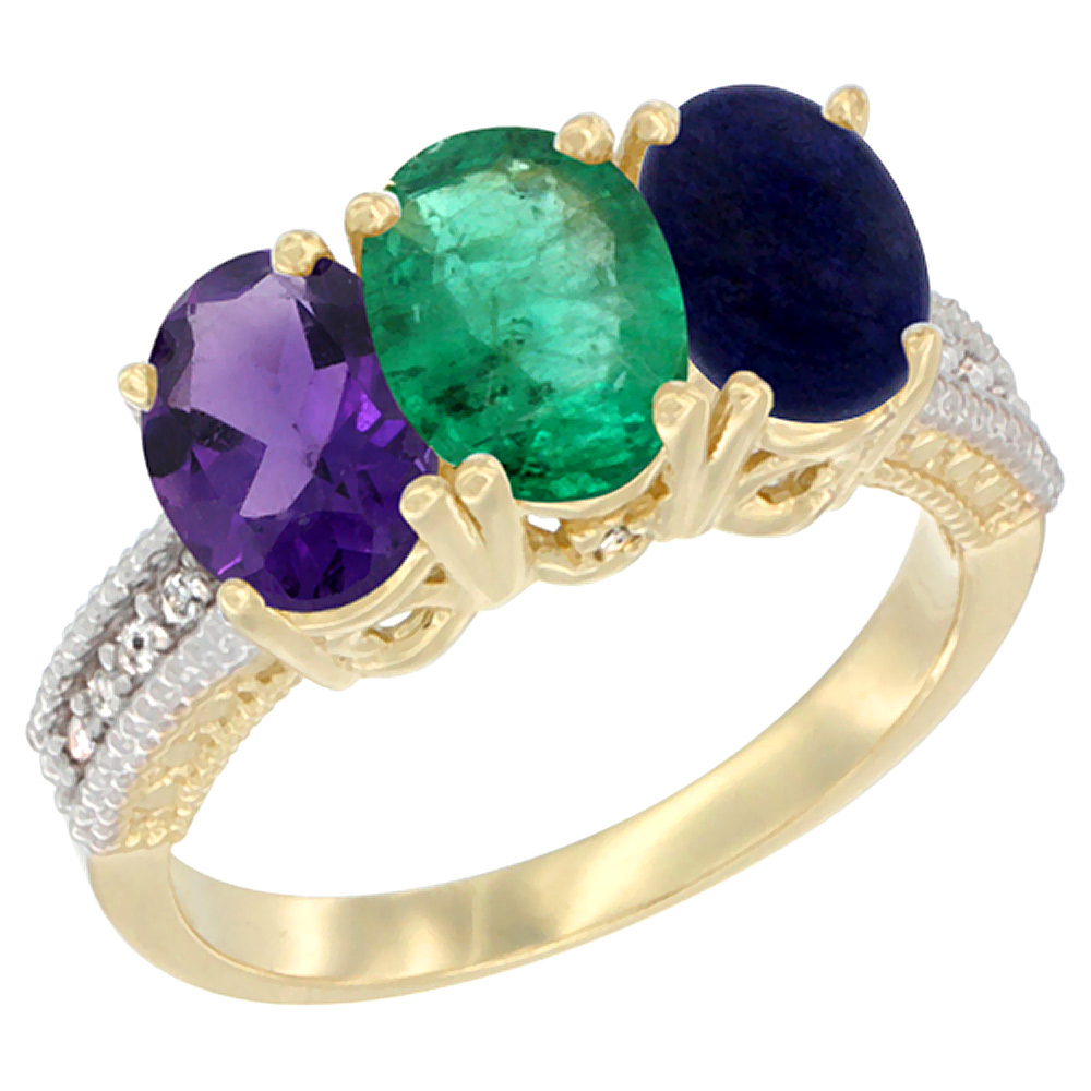 14K Yellow Gold Natural Amethyst, Emerald & Lapis Ring 3-Stone 7x5 mm Oval Diamond Accent, sizes 5 - 10
