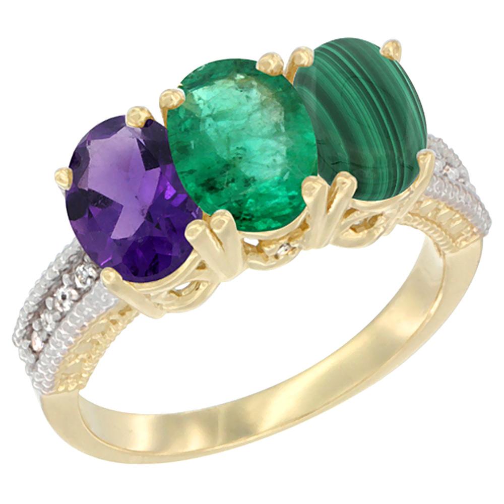 14K Yellow Gold Natural Amethyst, Emerald & Malachite Ring 3-Stone 7x5 mm Oval Diamond Accent, sizes 5 - 10