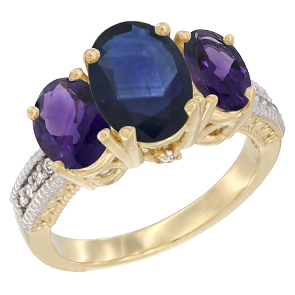 10K Yellow Gold Diamond Natural Blue Sapphire Ring 3-Stone Oval 8x6mm with Amethyst, sizes5-10