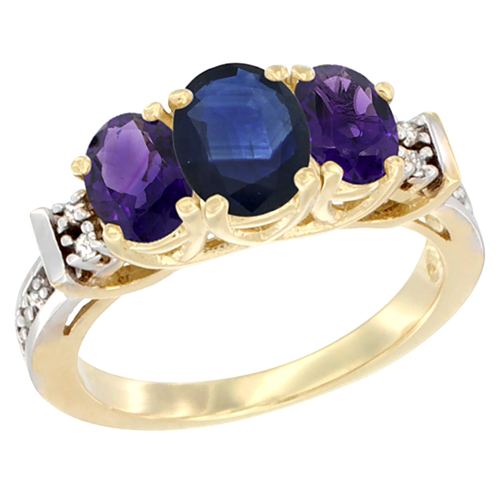 10K Yellow Gold Natural Blue Sapphire & Amethyst Ring 3-Stone Oval Diamond Accent