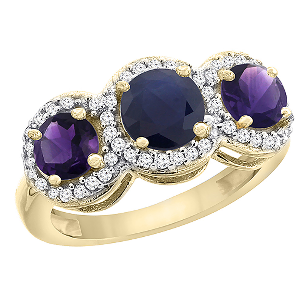 10K Yellow Gold Natural High Quality Blue Sapphire & Amethyst Sides Round 3-stone Ring Diamond Accents, sizes 5 - 10
