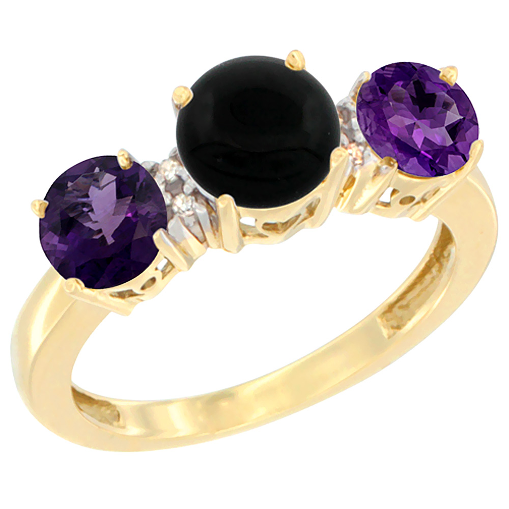 14K Yellow Gold Round 3-Stone Natural Black Onyx Ring & Amethyst Sides Diamond Accent, sizes 5 - 10