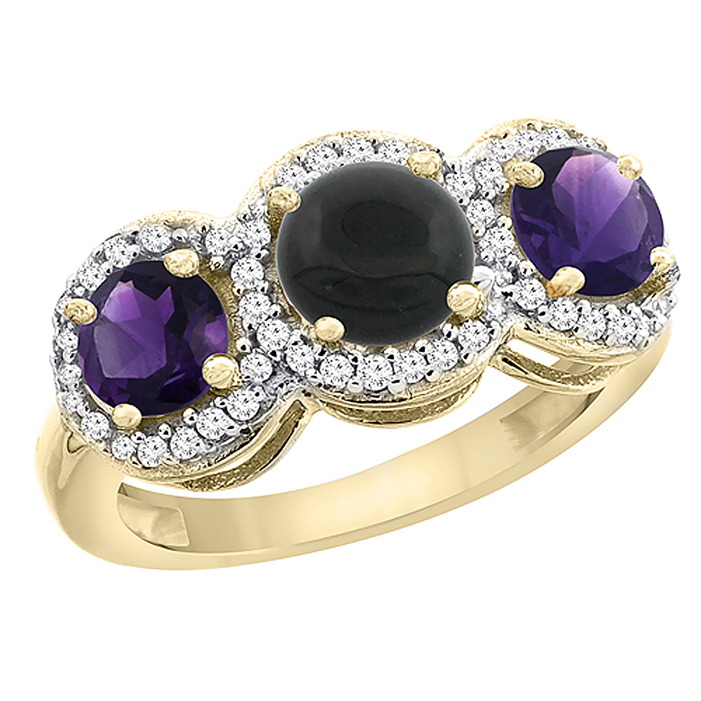14K Yellow Gold Natural Black Onyx & Amethyst Sides Round 3-stone Ring Diamond Accents, sizes 5 - 10