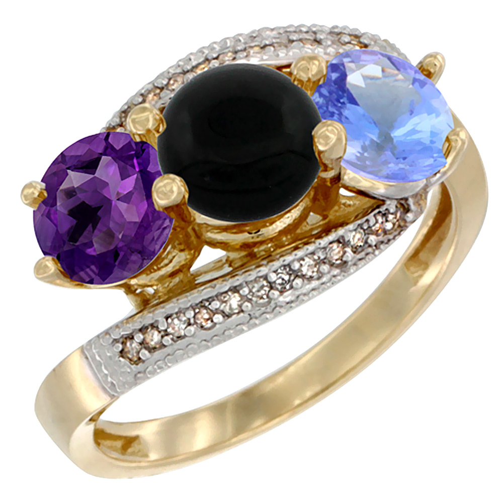 14K Yellow Gold Natural Amethyst, Black Onyx & Tanzanite 3 stone Ring Round 6mm Diamond Accent, sizes 5 - 10