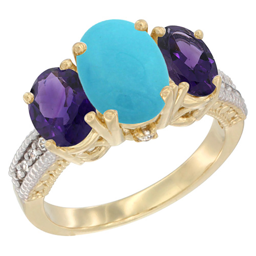 14K Yellow Gold Diamond Natural Turquoise Ring 3-Stone Oval 8x6mm with Amethyst, sizes5-10