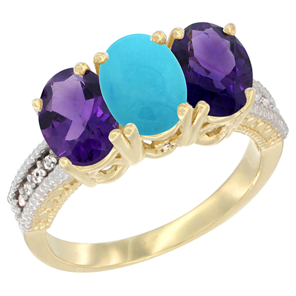 10K Yellow Gold Diamond Natural Turquoise & Amethyst Ring Oval 3-Stone 7x5 mm,sizes 5-10