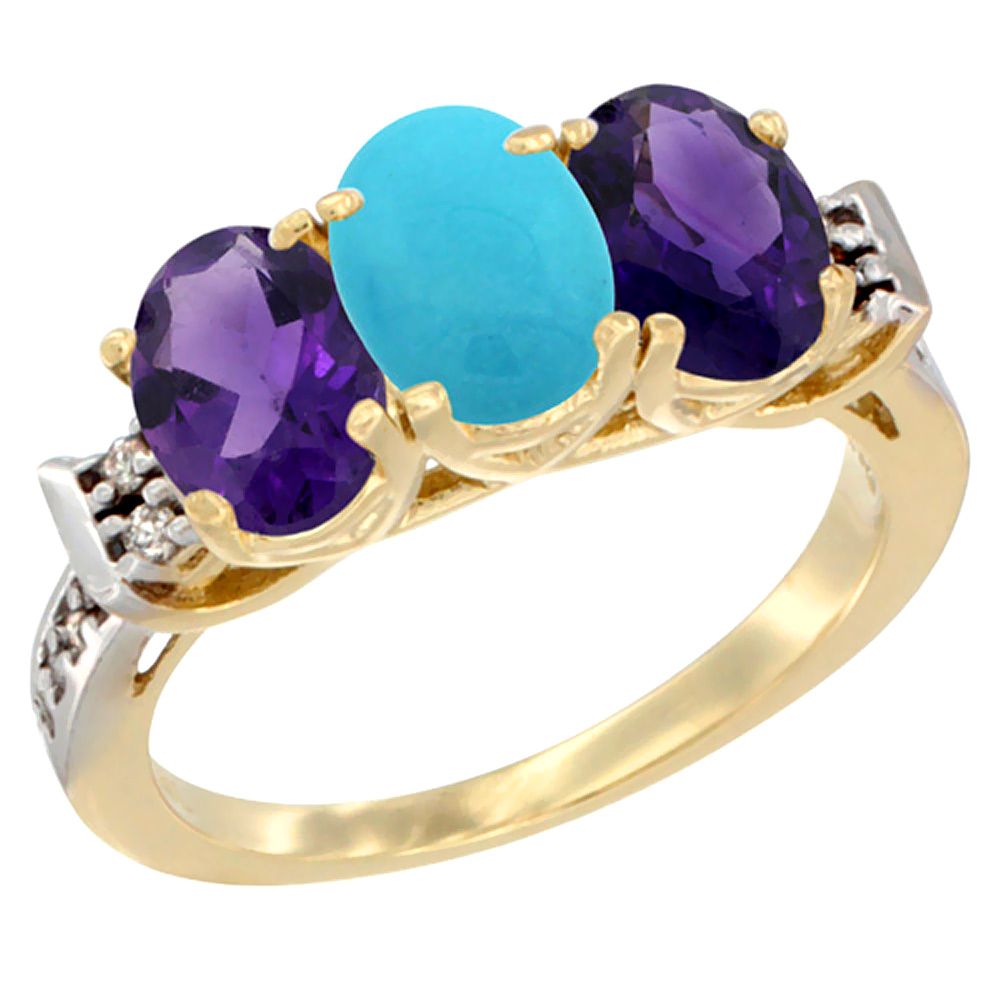 10K Yellow Gold Natural Turquoise & Amethyst Sides Ring 3-Stone Oval 7x5 mm Diamond Accent, sizes 5 - 10