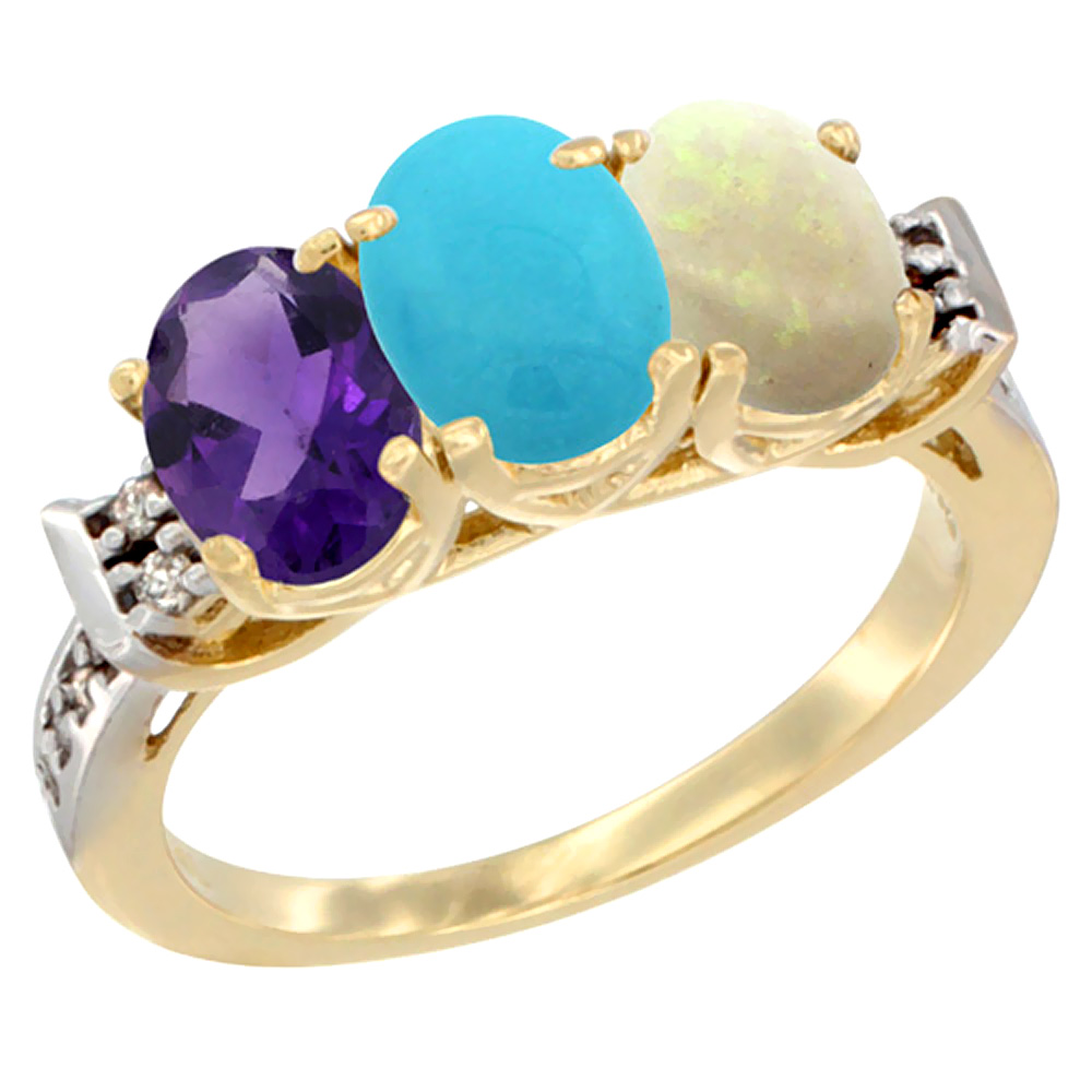 10K Yellow Gold Natural Amethyst, Turquoise & Opal Ring 3-Stone Oval 7x5 mm Diamond Accent, sizes 5 - 10