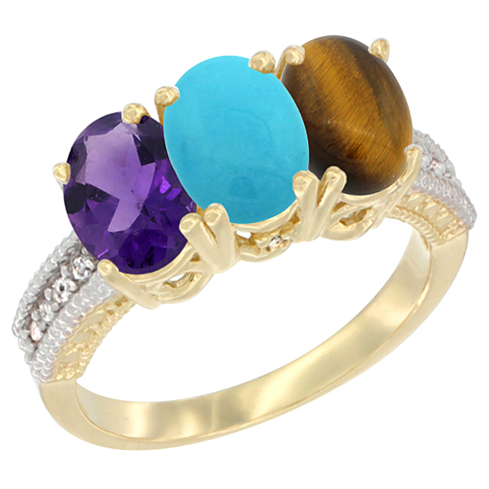 10K Yellow Gold Diamond Natural Amethyst, Turquoise & Tiger Eye Ring Oval 3-Stone 7x5 mm,sizes 5-10