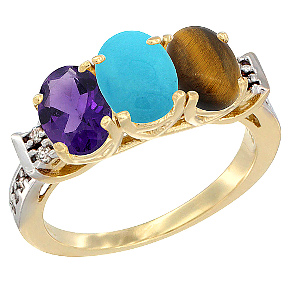 10K Yellow Gold Natural Amethyst, Turquoise & Tiger Eye Ring 3-Stone Oval 7x5 mm Diamond Accent, sizes 5 - 10