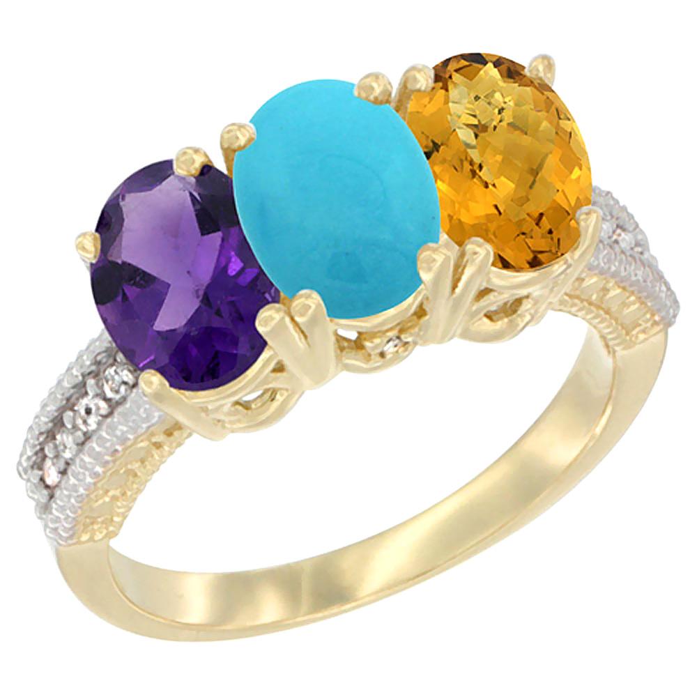 10K Yellow Gold Diamond Natural Amethyst, Turquoise & Whisky Quartz Ring Oval 3-Stone 7x5 mm,sizes 5-10