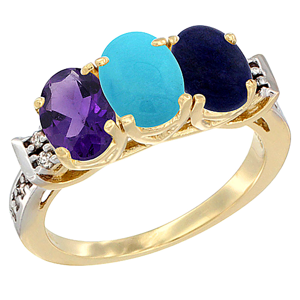 10K Yellow Gold Natural Amethyst, Turquoise & Lapis Ring 3-Stone Oval 7x5 mm Diamond Accent, sizes 5 - 10