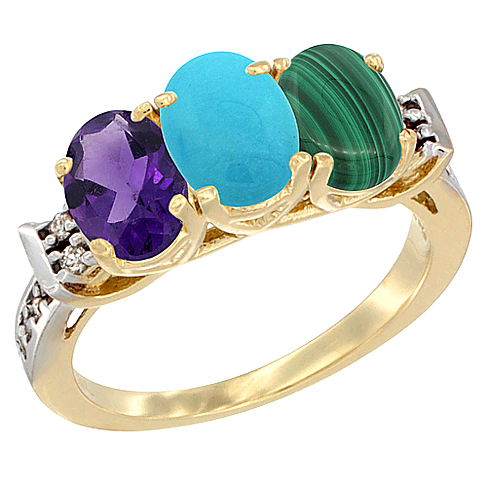 10K Yellow Gold Natural Amethyst, Turquoise & Malachite Ring 3-Stone Oval 7x5 mm Diamond Accent, sizes 5 - 10