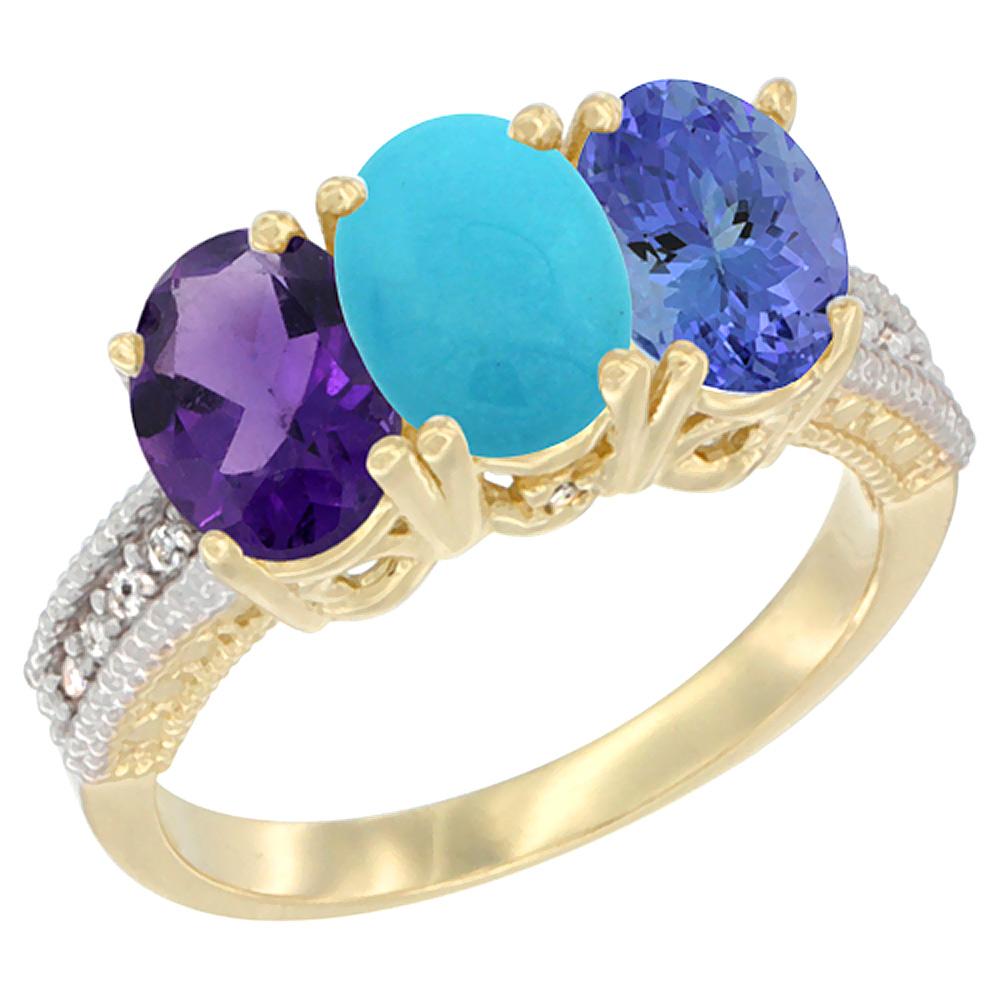 10K Yellow Gold Diamond Natural Amethyst, Turquoise & Tanzanite Ring Oval 3-Stone 7x5 mm,sizes 5-10