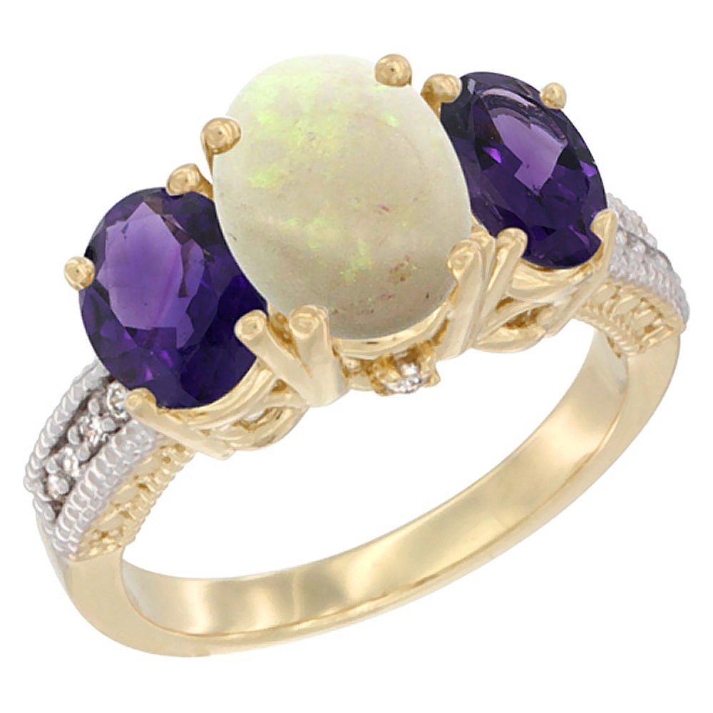 14K Yellow Gold Diamond Natural Opal Ring 3-Stone Oval 8x6mm with Amethyst, sizes5-10