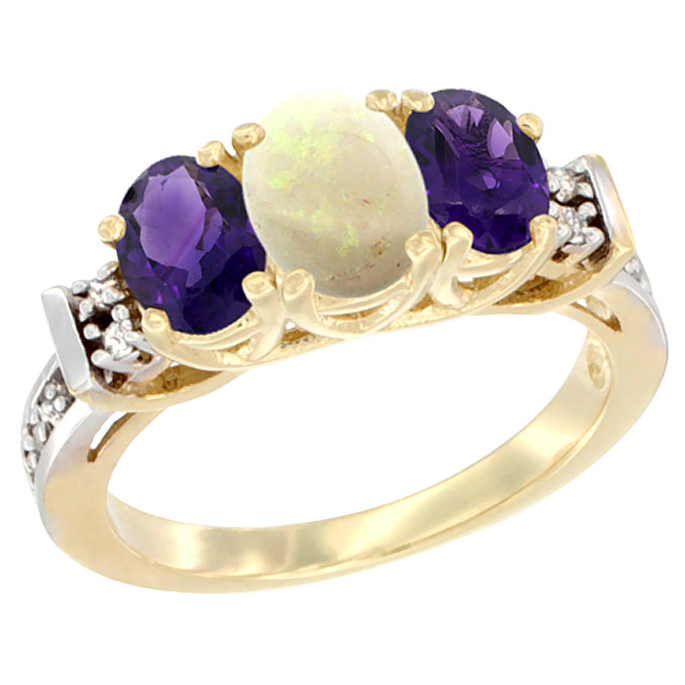 14K Yellow Gold Natural Opal & Amethyst Ring 3-Stone Oval Diamond Accent