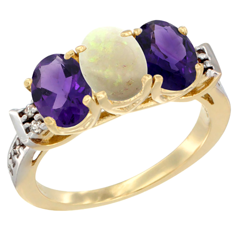 10K Yellow Gold Natural Opal & Amethyst Sides Ring 3-Stone Oval 7x5 mm Diamond Accent, sizes 5 - 10
