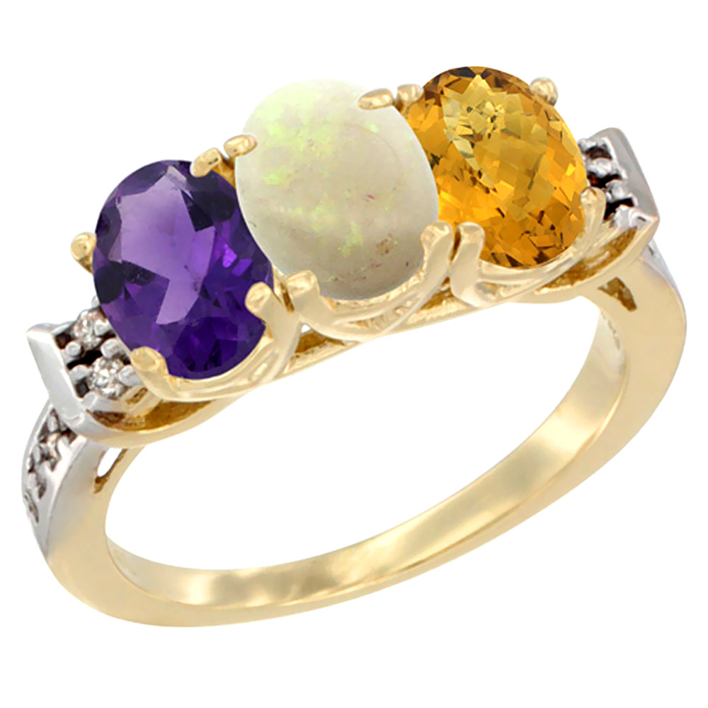 10K Yellow Gold Natural Amethyst, Opal & Whisky Quartz Ring 3-Stone Oval 7x5 mm Diamond Accent, sizes 5 - 10
