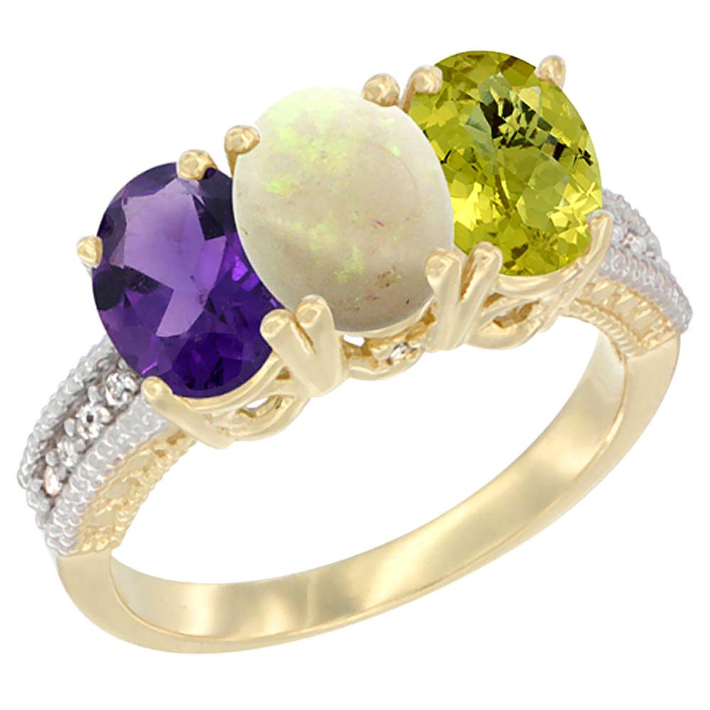 10K Yellow Gold Diamond Natural Amethyst, Opal & Lemon Quartz Ring Oval 3-Stone 7x5 mm,sizes 5-10