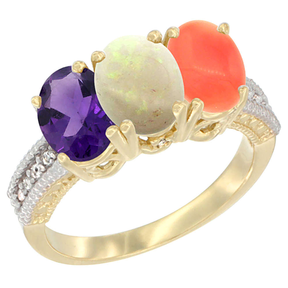 10K Yellow Gold Diamond Natural Amethyst, Opal & Coral Ring Oval 3-Stone 7x5 mm,sizes 5-10