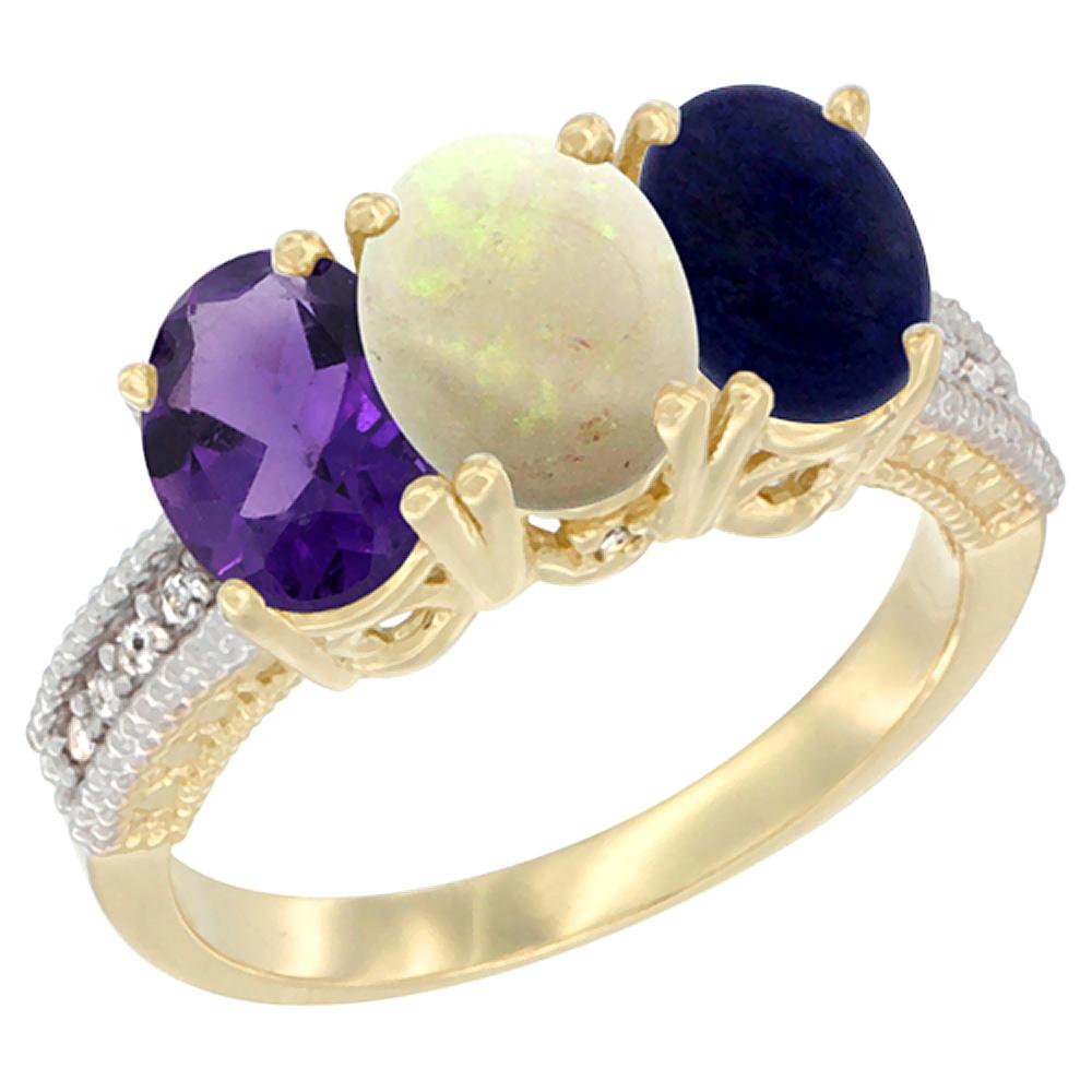 10K Yellow Gold Diamond Natural Amethyst, Opal & Lapis Ring Oval 3-Stone 7x5 mm,sizes 5-10